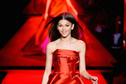 Zendaya walks the runway at the Go Red For Women Red Dress Collection 2015 presented by Macy's fashion show during Mercedes-Benz Fashion Week Fall 2015 at The Theatre at Lincoln Center on February 12, 2015 in New York City.