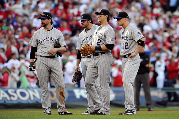 Clint Barmes and Ian Stewart - Colorado Rockies v Philadelphia Phillies, Game 2
