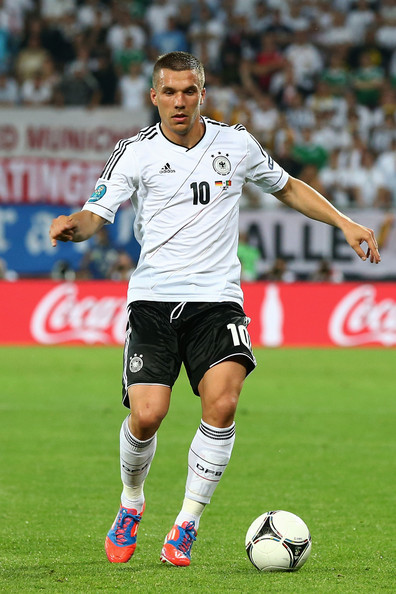 Lukas Podolski of Germany in action during the UEFA EURO 2012 group B match between Germany and Portugal at Arena Lviv on June 9, 2012 in L'viv, Ukraine.