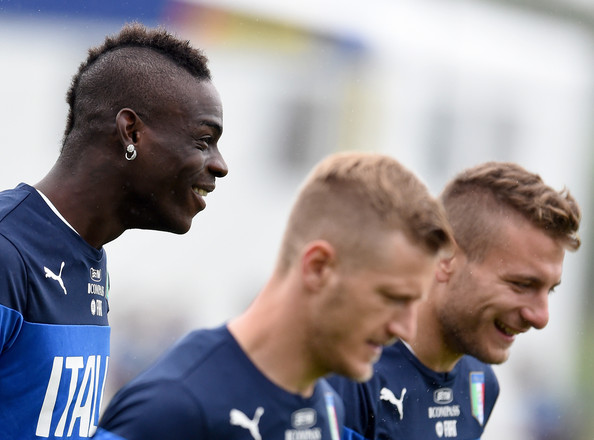 Mario Balotelli of Italy (L) during a training session on June 10, 2014 in Rio de Janeiro, Brazil.