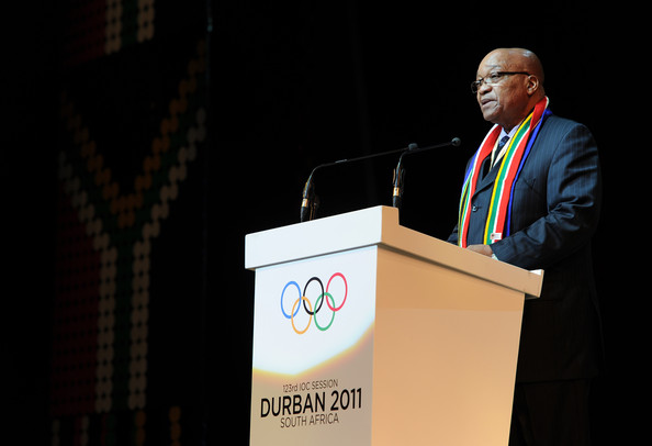 Jacob Zuma South African President Jacob Zuma addresses dignitaries during the opening ceremony of the 123rd IOC session on July 5, 2011 in Durban, South Africa. The annual general meeting of the members of the International Olympic Committee held in Durban will decide on Wednesday, July 6, 2011, which of the three candidate cities, Munich, Annecy and PyeongChang, will host the 2018 Olympic Winter Games.