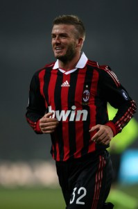 David Beckham of Milan during the Juventus v AC Milan Serie A match at the Stadio Olimpico di Torino on January 10, 2010 in Turin, Italy.