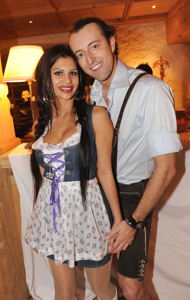 Nina Bruckner (Bambi) and Mario - Max Prinz zu Schaumburg - Lippe attend  the Weisswurst Party at the Stanglwirt Hotel on January 22, 2010 in Kitzbuehel, Austria.