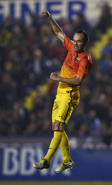 Andres Iniesta of Barcelona celebrates scoring during the la Liga match between Levante UD and FC Barcelona at Ciutat de Valencia on November 25, 2012 in Valencia, Spain.