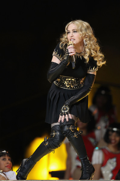 Madonna Singer Madonna performs during the Bridgestone Super Bowl XLVI Halftime Show at Lucas Oil Stadium on February 5, 2012 in Indianapolis, Indiana.