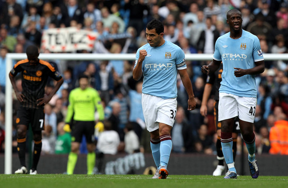 Carlos Tevez of Manchester City celebrates after scoring the opening goal during the Barclays Premier League match between Manchester City and Chelsea at the City of Manchester Stadium on September 25, 2010 in Manchester, England.