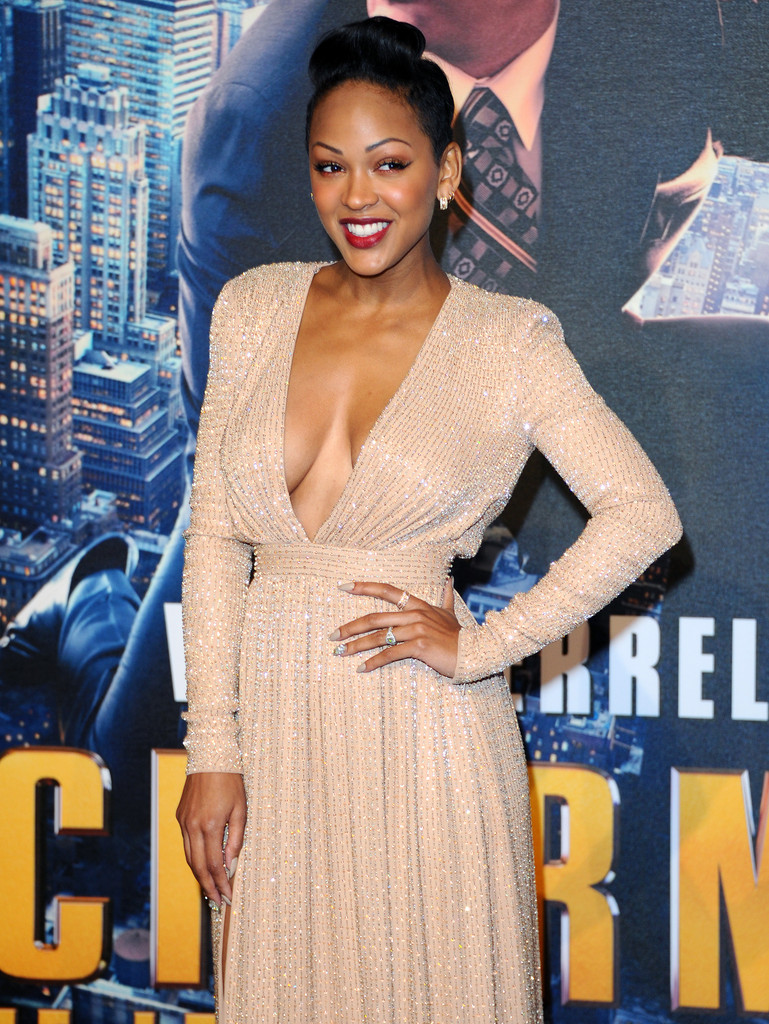 meagan good v neck dress cleavage