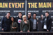 (L-R) Jonathan Knight, Chilli, Joey McIntyre, T-Boz, Donnie Wahlberg, Danny Wood and Jordan Knight attend the New Kids On The Block Press Conference at Madison Square Garden on January 20, 2015 in New York City.