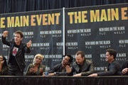 (L-R)  Chilli, Joey Mcintyre, T-Boz, Danny Wood, Donnie Wahlberg, Jonathan Knight and Jordan Knight attend the New Kids On The Block Press Conference at Madison Square Garden on January 20, 2015 in New York City.