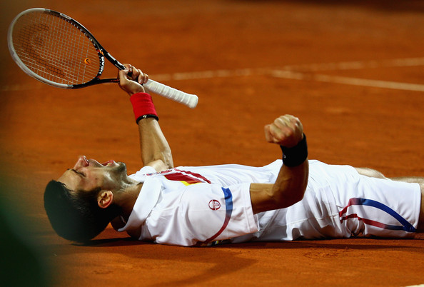 Novak Djokovic Novak Djokovic of Serbia celebrates match point during the final against Rafael Nadal of Spain during day eight of the Internazoinali BNL D'Italia at the Foro Italico Tennis Centre on May 15, 2011 in Rome, Italy.
