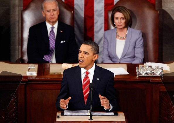 U.S. Vice President Joseph Biden and U.S. Speaker of the House Rep. Nancy Pelosi (D-CA) look on as U.S. President Barack Obama speeks to both houses of Congress during his first State of the Union address at the U.S. Capitol on January 27, 2010 in Washington, DC. Since taking office a little over a year ago, Obama's approval ratings have dropped significantly according to recent polls.