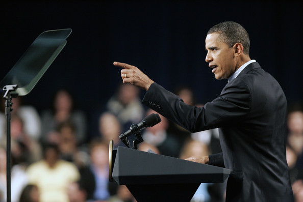 U.S. President Barack Obama speaks during a town hall meeting with Ohio students, workers, local leaders and small business owners at Ewing Field House on the campus of Lorain County Community College on January 22, 2010 in Elyria, Ohio. President Obama spoke on the ideas for continuing to grow the economy and put Americans back to work and then spent the day in the Lorain County area discussing with Ohioans the challenges they are facing.