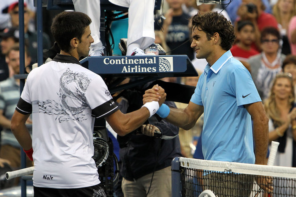 Roger Federer and Novak Djokovic - U.S. Open-Day 13