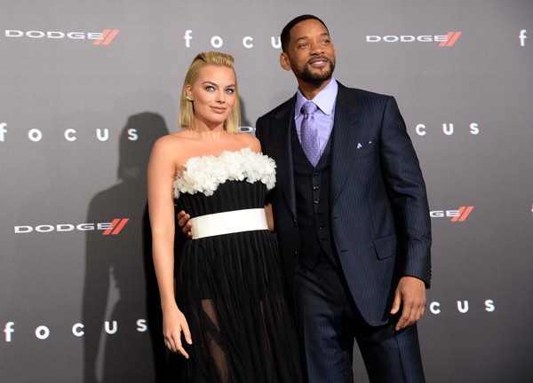 "Will Smith Actors Will Smith (R) and Margot Robbie attend the Los Angeles Premiere of ""Focus"" Sponsored By Dodge at TCL Chinese Theatre on February 24, 2015 in Hollywood, California."