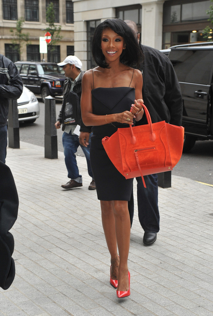 brandy little black dress orange celine bag