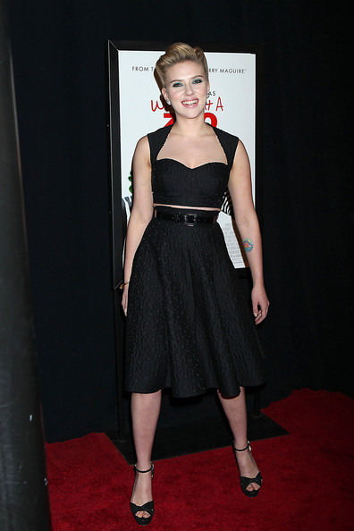 """Scarlett Johansson Scarlett Johansson attends the red carpet premiere of her new film """"We Bought a Zoo"""", held at the Ziegfeld Theater in New York City."""