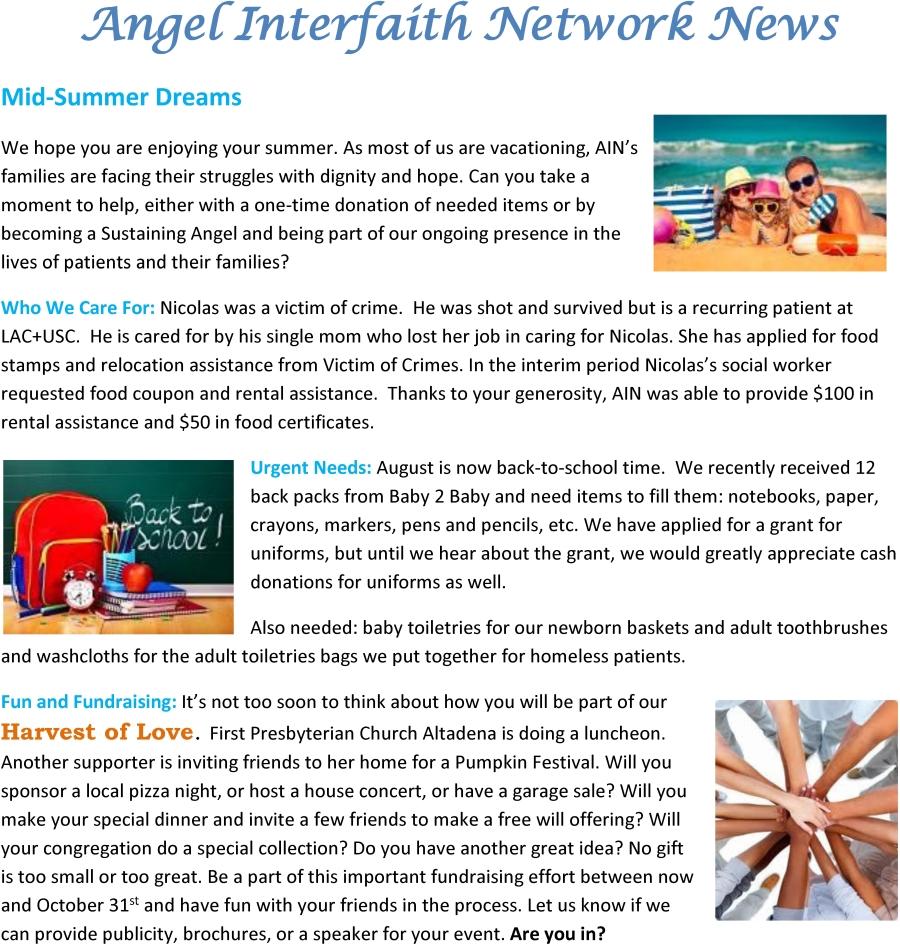 Angel Interfaith Network News August 2015