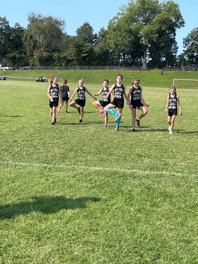 Elementary girls 4th-6th grade warming up