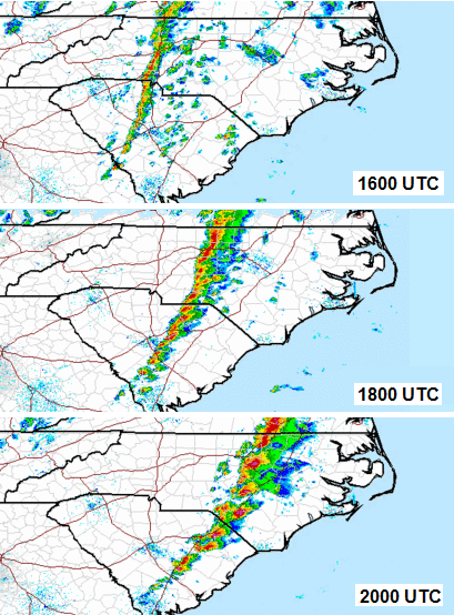 regional radar images at 1600, 1800, and 2000 UTC