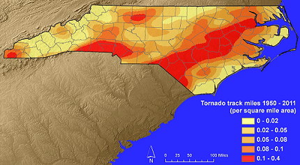 Tornado track density map for North Carolina - click to enlarge