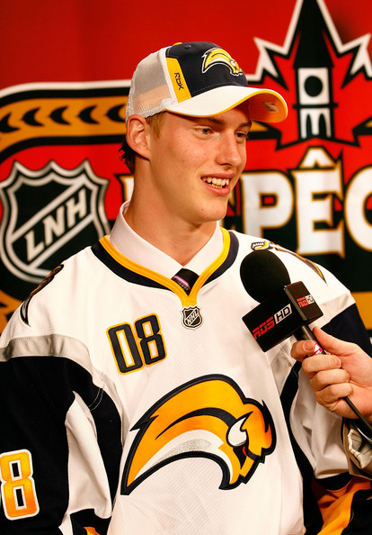 12th overall pick, Tyler Myers of the Buffalo Sabres talks with the media during the 2008 NHL Entry Draft at Scotiabank Place on June 20, 2008 in Ottawa, Ontario, Canada.