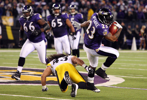 Troy Polamalu Willis McGahee #23 of the Baltimore Ravens runs the ball past Troy Polamalu #43 of the Pittsburgh Steelers on December 14, 2008 at M&T Bank Stadium in Baltimore, Maryland. The Steelers defeated the Ravens 13-9.  (Photo by Jim McIsaac/Getty Images) *** Local Caption *** Willis McGahee;Troy Polamalu