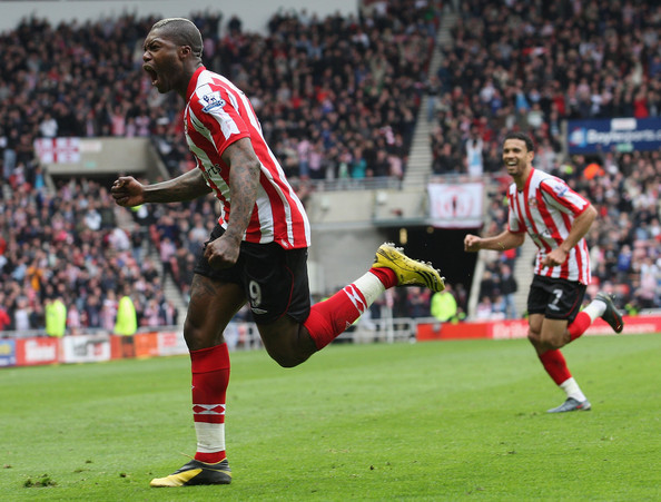 Djibril Cisse of Sunderland celebrates after scoring his team's first goal