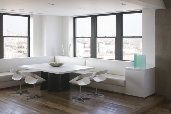 Modern kitchen banquette seating. top chairs wall glass at with ...