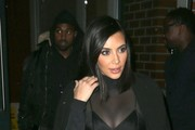 Couple Kim Kardashian and Kanye West head out to celebrate Valentine's Day after midnight in New York City, New York on February 14, 2015. The pair have been in New York attending the Mercedes Benz Fashion Week.