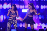 Rapper Nicki Minaj (L) and singer Ariana Grande perform onstage during the 2014 iHeartRadio Music Festival at the MGM Grand Garden Arena on September 19, 2014 in Las Vegas, Nevada.