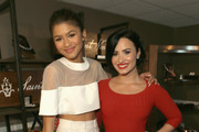 Actresses Zendaya (L) and Demi Lovato attend the 2nd Annual unite4:humanity presented by ALCATEL ONETOUCH at the Beverly Hilton Hotel on February 19, 2015 in Los Angeles, California.