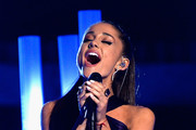 "Singer Ariana Grande performs ""Just a Little Bit of Your Heart"" onstage during The 57th Annual GRAMMY Awards at the at the STAPLES Center on February 8, 2015 in Los Angeles, California."