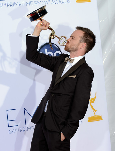 Aaron Paul Aaron Paul winner for Outstanding Supporting Actor in a Drama Series poses in the press room during the 64th Annual Primetime Emmy Awards at Nokia Theatre L.A. Live on September 23, 2012 in Los Angeles, California.