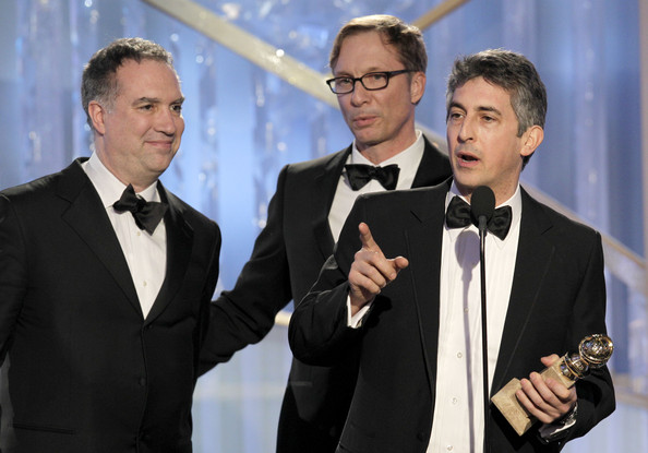 Alexander Payne In this handout photo provided by NBC, (L-R) producers Jim Taylor, Jim Burke and writer/director Alexander Payne, accept the award for Best Motion Picture - Drama 'The Descendants' onstage during the 69th Annual Golden Globe Awards at the Beverly Hilton International Ballroom on January 15, 2012 in Beverly Hills, California.