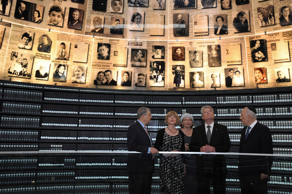 Avner Shalev In this handout photo from the Israeli Government Press Office (GPO), German President Joachim Gauck (2nd, R) and his partner Daniela Schadt (2nd, L) look at the Hall of Names with Israeli President Shimon Peres (R) and Yad Vashem chairman Avner Shalev (L) during a tour of the Yad Vashem Holocaust memorial on May 29, 2012 in Jerusalem, Israel. The German President arrived in Israel on Monday for a four day visit to the region, which will also see him head to the West Bank on Thursday. This is the German President's first official visit to Israel since taking office in March.