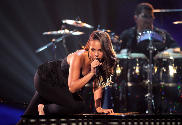 Singer Alicia Keys performs a tribute to Prince during the 2010 BET Awards held at the Shrine Auditorium on June 27, 2010 in Los Angeles, California.