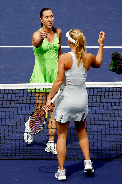 Caroline Wozniacki Jelena Jankovic (L) of Serbia is congratulated at the net by Caroline Wozniacki of Denmark during the final of the BNP Paribas Open on March 21, 2010 at the Indian Wells Tennis Garden in Indian Wells, California.