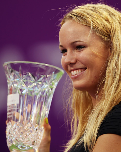 Caroline Wozniacki Caroline Wozniacki of Denmark receives the WTA Year- End No 1 Trophy on during day four of the WTA Championships at the Khalifa Tennis Complex on October 29, 2010 in Doha, Qatar.