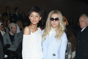 Zendaya (L) and Kesha attend the Christian Siriano Fashion Show at ArtBeam on February 14, 2015 in New York City.