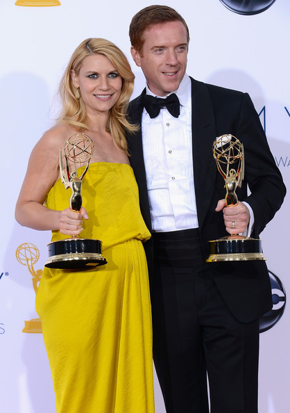 Damian Lewis Claire Danes and Damian Lewis pose in the press room during the 64th Annual Primetime Emmy Awards at Nokia Theatre L.A. Live on September 23, 2012 in Los Angeles, California.
