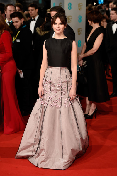 Felicity Jones attends the EE British Academy Film Awards at The Royal Opera House on February 8, 2015 in London, England.