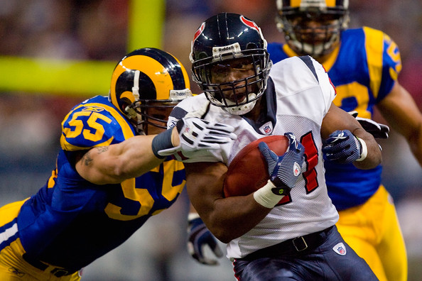 James Laurinaitis Ryan Moats #21 of the Houston Texans looks to get past James Laurinaitis #55 of the St. Louis Rams at the Edward Jones Dome on December 20, 2009 in St. Louis, Missouri.