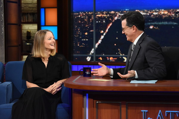 Image result for jodie foster on colbert late show