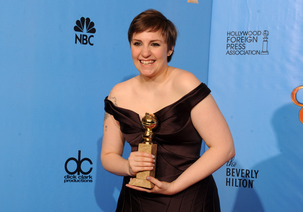 Lena Dunham Writer/director Lena Dunham poses with Best Actress in a TV Comedy Award in the press room during the 70th Annual Golden Globe Awards held at The Beverly Hilton Hotel on January 13, 2013 in Beverly Hills, California.