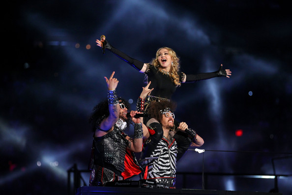 Madonna Singer Madonna performs with Redfoo and Sky Blu of LMFAO during the Bridgestone Super Bowl XLVI Halftime Show at Lucas Oil Stadium on February 5, 2012 in Indianapolis, Indiana.