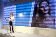 Rosie Huntington-Whiteley speaks at Moroccanoil Inspired by Women campaign launch event at the IAC Building on September 17, 2014 in New York City.
