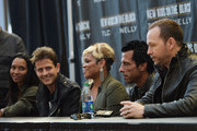 (L-R)  Chilli, Joey Mcintyre, T-Boz, Danny Wood and Donnie Wahlberg attend the New Kids On The Block Press Conference at Madison Square Garden on January 20, 2015 in New York City.