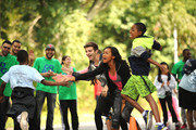 Actors  (L-R) Jack Griffo, Sydney Park and Tylen Jacob Williams participate in activities during Nickelodeon's 11th Annual Worldwide Day of Play at Prospect Park on September 20, 2014 in New York City.