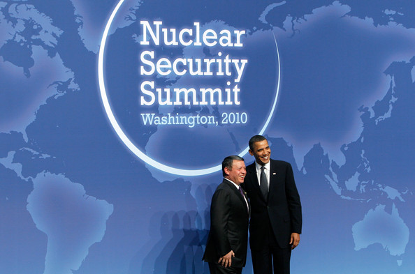 U.S. President Barack Obama (R) poses for photographers with King Abdullah II of Jordan (L) at the Nuclear Security Summit April 12, 2010 in Washington, DC. President Obama hosted leaders of the 47 nations for the two-day Nuclear Security Summit to discuss solutions to cut down nuclear weapons around the world.