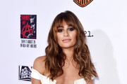 """Actress Lea Michele arrives at the season 7 premiere screening of FX's """"Sons of Anarchy"""" at the Chinese Theatre on September 6, 2014 in Los Angeles, California."""